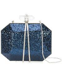 Marchesa Glitter box clutch bag - Bleu