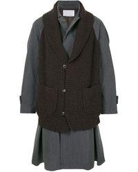 Kolor レイヤードスタイル コート - ブラック