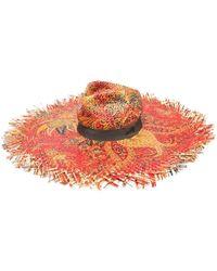 Etro Шляпа Из Рафии С Принтом - Красный