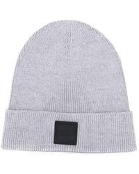 BOSS - Logo Patch Knitted Beanie - Lyst