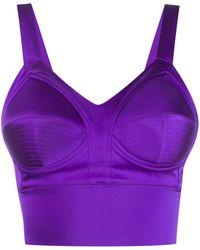 Murmur Cropped Bustier Top - Purple