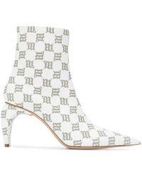 MISBHV Monogram Print Ankle Boots - White