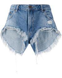One Teaspoon Distressed Cut-off Shorts - Blue