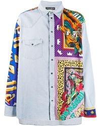 Dolce & Gabbana Jeanshemd mit Print - Blau