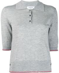 Thom Browne Rwb-stripe Polo Shirt - Grey