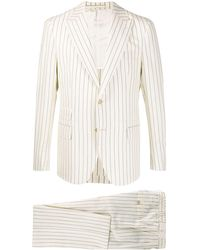 Eleventy Linen-blend Striped Suit - Natural