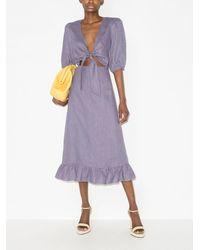 Adriana Degreas Платье Миди С Завязками Спереди - Пурпурный