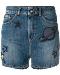 Emporio Armani - Space Patch Denim Shorts - Lyst
