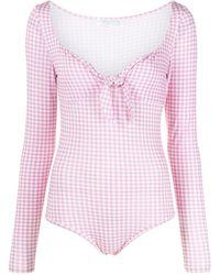 Caroline Constas Jessie Gingham-print Body - Pink