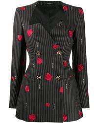 Versace Блейзер В Тонкую Полоску С Вышивкой - Черный