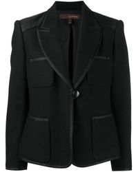 Louis Vuitton Contrasting Piping Notched Lapels Blazer - Black