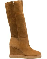 Ba&sh Slip-on Wedge Heel Boots - Brown