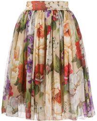 Dolce & Gabbana - フローラル フレアスカート - Lyst