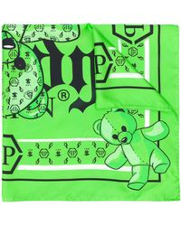 Philipp Plein Платок Foulard Teddy Bear - Зеленый
