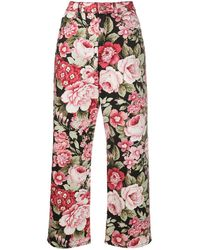 P.A.R.O.S.H. Floral-print Straight-leg Jeans - Pink