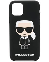 Karl Lagerfeld Cover per iPhone 11 Pro con stampa Ironik - Nero