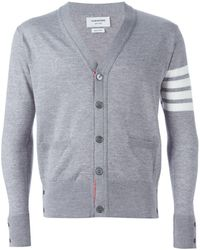 Thom Browne Striped Sleeve Cardigan - Gray