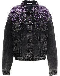 Miu Miu Crystal-embellished Denim Jacket - Black