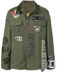 Dolce & Gabbana Blouson Militaire En Coton À Écussons - Vert