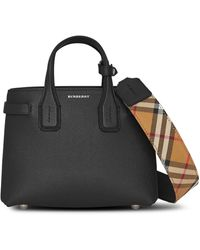 Burberry - Black Check Timeless New Banner Grained Leather Tote Bag - Lyst