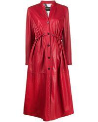Emporio Armani Single Breasted Leather Coat - Red