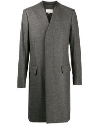 Maison Margiela Houndstooth Collarless Coat - Grey