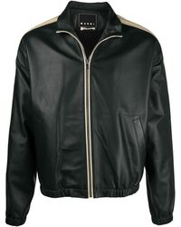 Marni Contrast-trim Leather Jacket - Green