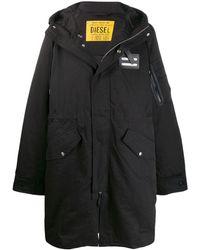 DIESEL Long hooded coat - Nero