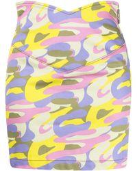 Gcds Camouflage-print V Skirt - Purple