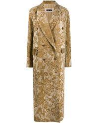 Uma Wang Длинное Двубортное Пальто С Узором - Многоцветный