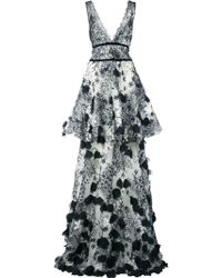 Marchesa notte - Embroidered maxi dress - Lyst