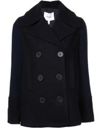 10 Crosby Derek Lam Double Breasted Pea Coat With Knit Sleeves - Blue
