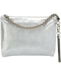 Jimmy Choo Callie Metallic Kwast Clutch - Grijs