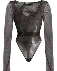 Y. Project Sheer Long-sleeve Bodysuit - Black