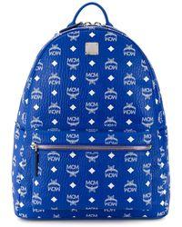 MCM Stark Monogram Leather Backpack - Blue