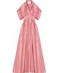 Carolina Herrera Vネック イブニングドレス - ピンク