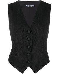 Dolce & Gabbana Jacquard Button-up Waistcoat - Black