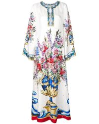 Dolce & Gabbana Majolica Print Kaftan Dress - White