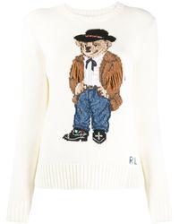 Polo Ralph Lauren Bear Print Sweater - White