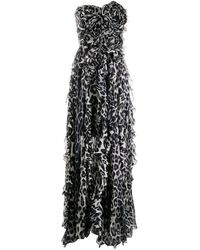 Blumarine Animal-print Strapless Gown - Gray