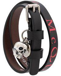Alexander McQueen Logo Print Skull Charm Bracelet - Black