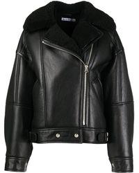 Acne Studios Куртка Из Телячьей Кожи С Овчиной - Черный