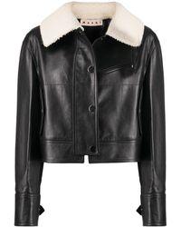 Marni Shearling Collar Leather Jacket - Black