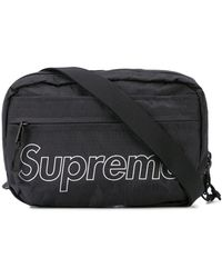 Supreme Logo Print Shoulder Bag - Black