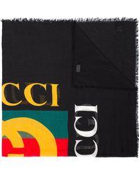Gucci Black Logo Print Silk Blend Scarf - Zwart
