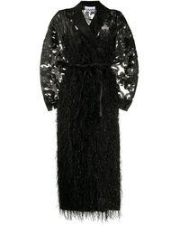 Ganni デコラティブ オーバーサイズコート - ブラック