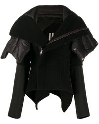 Rick Owens パデッドカラージャケット - ブラック