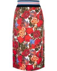 Marni Floral Print Midi Skirt - Red