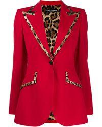 Dolce & Gabbana Blazer En Laine Mélangée À Imprimé Léopard - Rouge
