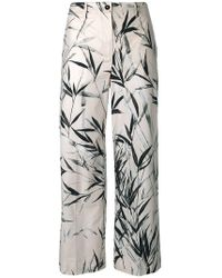 Blumarine - Leaves Print Cropped Trousers - Lyst